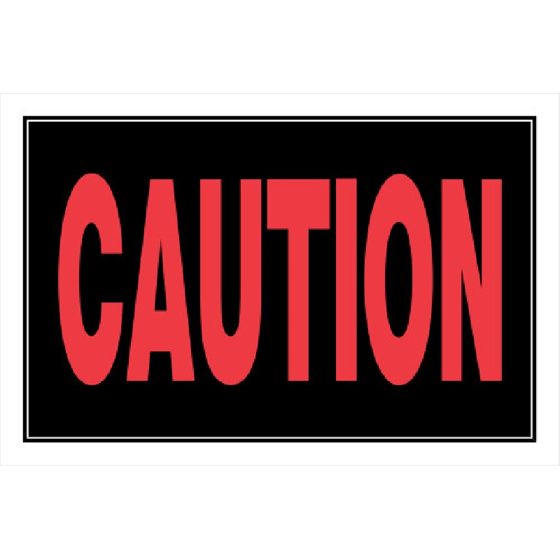 Picture of HILLMAN 839890 Sign, Caution, Black Background, Plastic, 12 in W x 8 in H x 0.1 Thick Dimensions