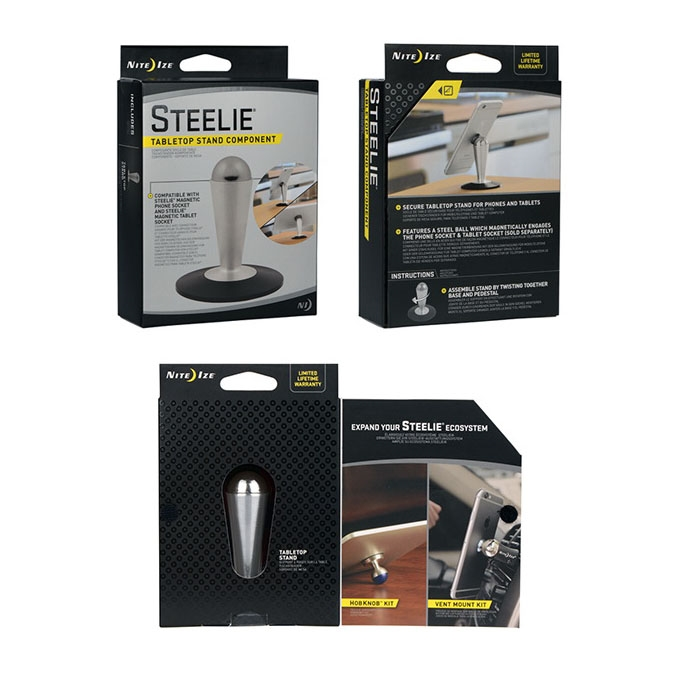 Picture of Nite Ize Steelie STP-11-R8 Tabletop Stand, Aluminum, Silver