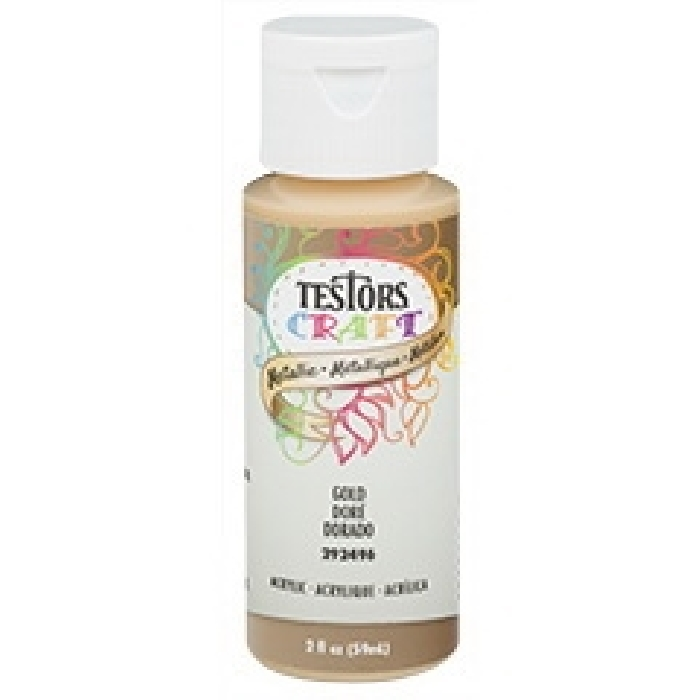 Picture of TESTORS 292496A Craft Paint, Metallic, Gold, 2 oz, Bottle