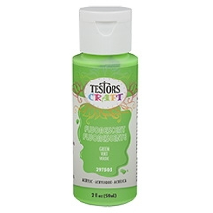 Picture of TESTORS 297505 Craft Paint, Fluorescent Green, 2 oz, Bottle