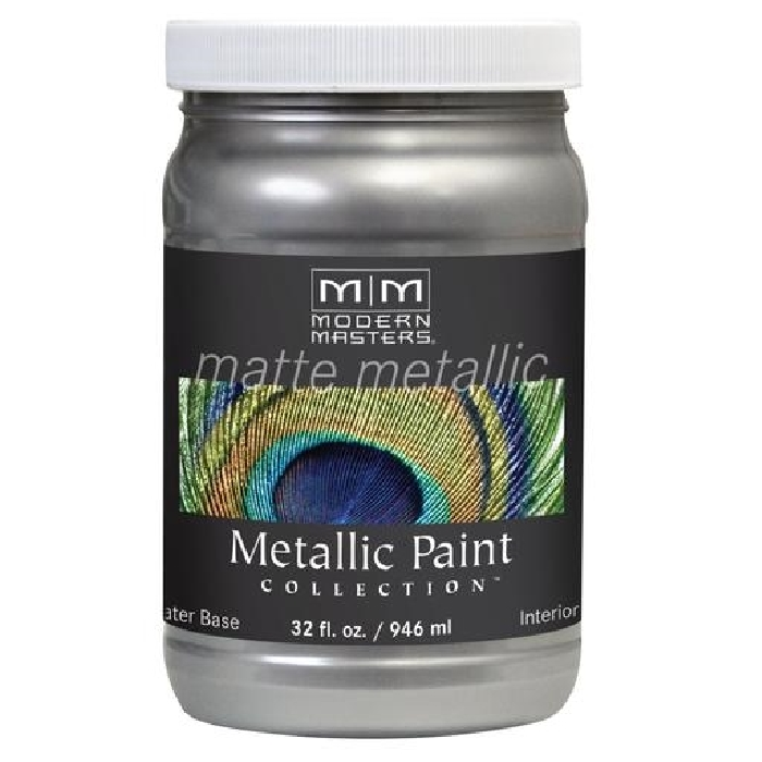 Picture of MODERN MASTERS MM59132 Metallic Paint, Matte, Platinum/Silver, 1 qt, Container