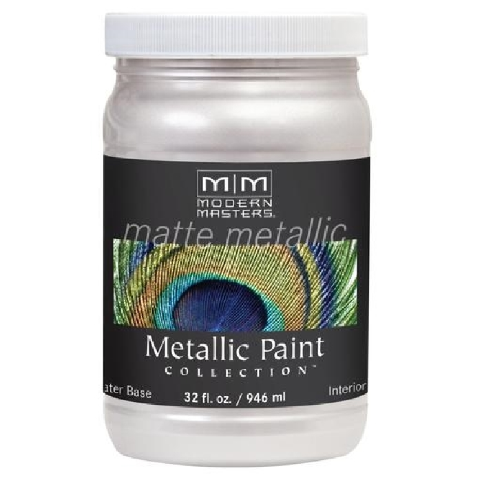 Picture of MODERN MASTERS MM70532 Metallic Paint, Matte, Oyster, 1 qt, Container