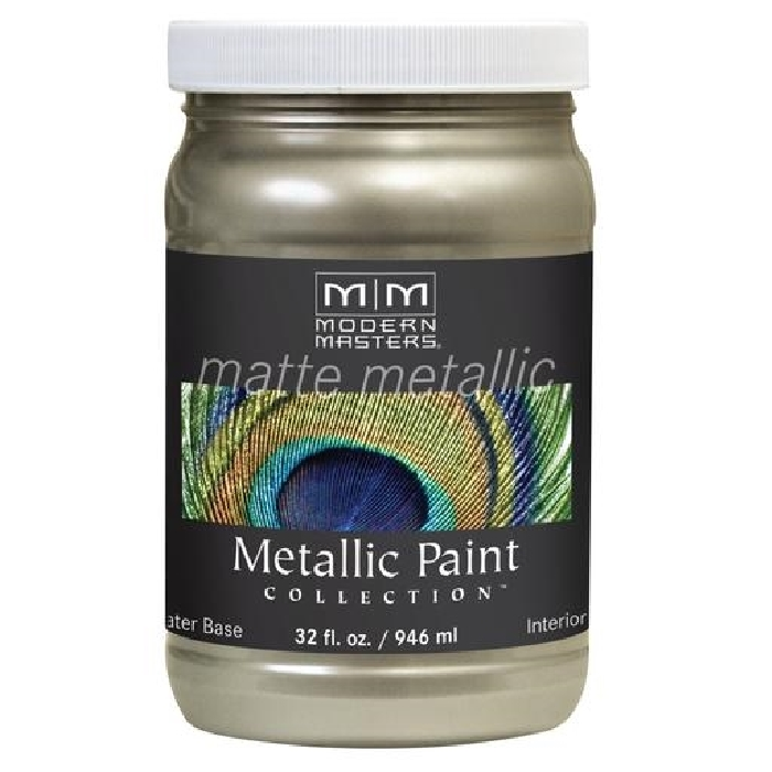 Picture of MODERN MASTERS MM20632 Metallic Paint, Matte, Champagne, 1 qt, Container