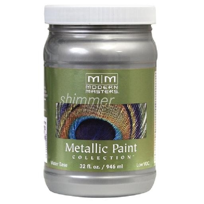 Picture of MODERN MASTERS ME15032 Metallic Paint, Metallic, Silver, 1 qt, Container