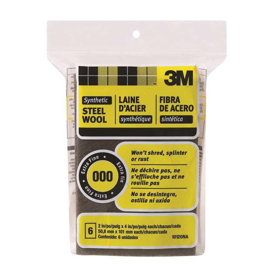 Picture of 3M 10120NA Wool Pad, 4 in L, 2 in W, 000 Grit, Very Fine