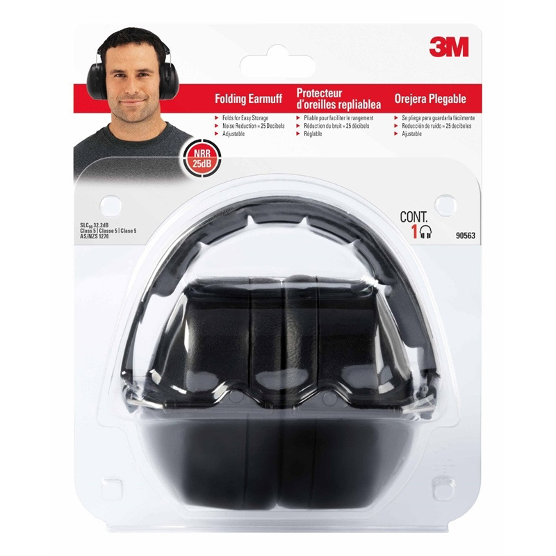 Picture of 3M 7100117617 Folding Ear Muff, 25 dB NRR, Black