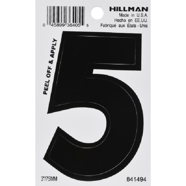 Picture of HILLMAN 841494 Adhesive Number, Character: 5, 3 in H Character, Black Character, Vinyl, 1, Pack