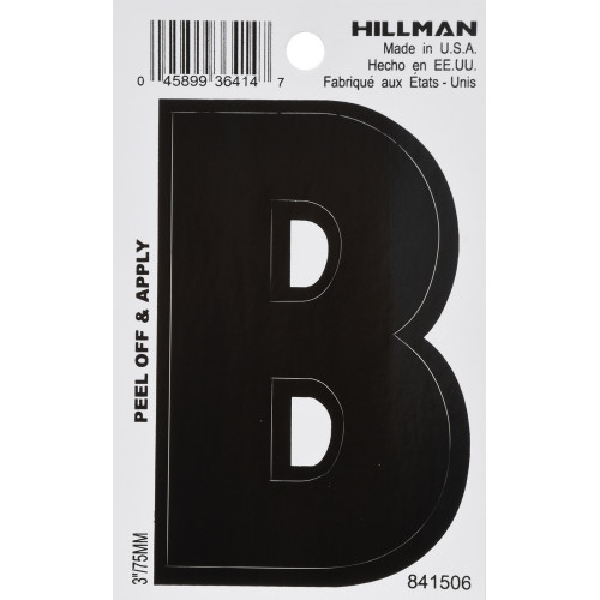 Picture of HILLMAN 841506 Adhesive Letter, Character: B, 3 in H Character, White Character, Vinyl, 1, Pack