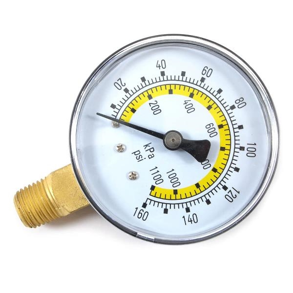 Picture of Forney 75554 Pressure Gauge, 1/4 in Connection, NPT, 2-1/4 in Dial, 0 to 160 psi, Bottom Connection