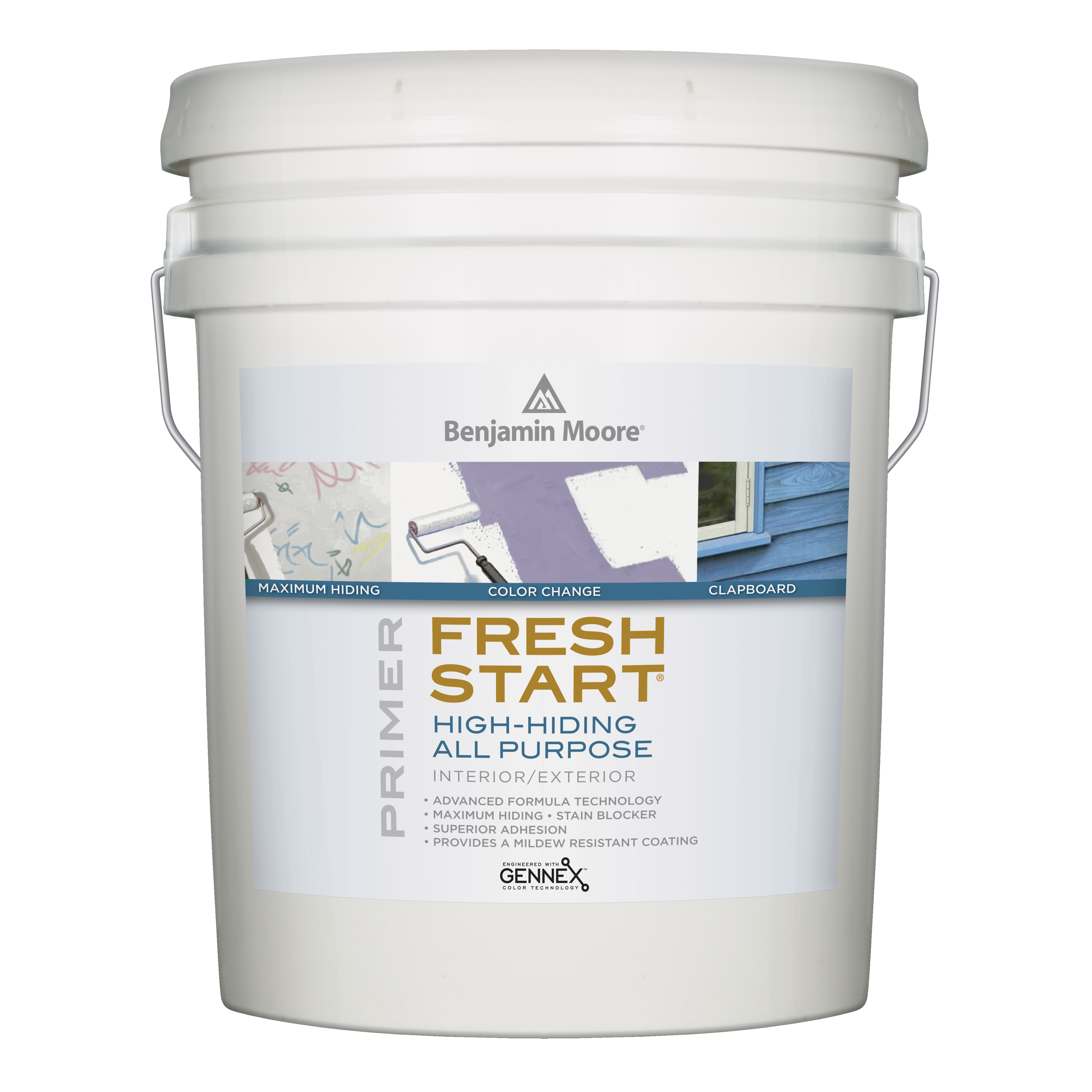 Picture of Benjamin Moore FRESH START 004600-005 Exterior Primer, Luster, White, 5 gal