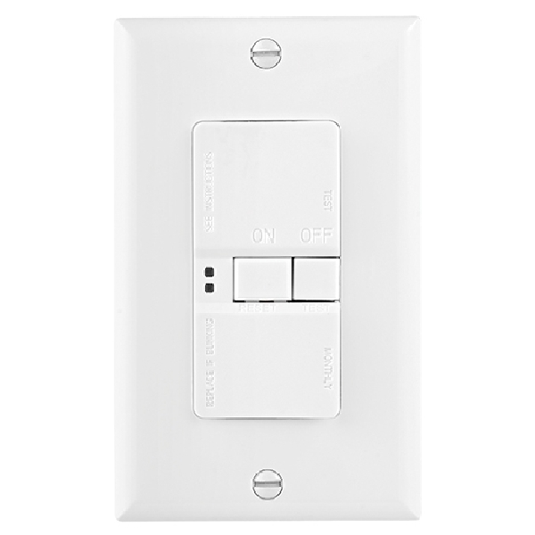 Picture of Eaton Wiring Devices SGFD20W GFCI Receptacle, 125 VAC, 20 A, NEMA: 5-20R, Back, Side Wiring, White