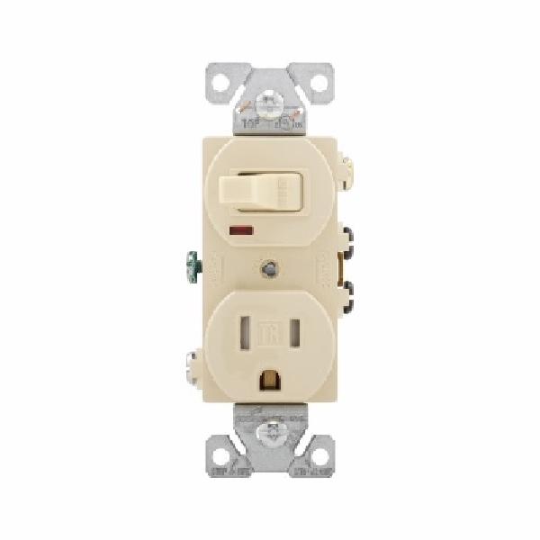Picture of EATON TR274V Combination Switch, 1-Pole, 15 A, 120/125 V, NEMA: 5-15R, Ivory