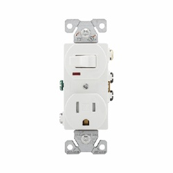 Picture of Eaton Wiring Devices TR274W Combination Switch Control, 1-Pole, 15 A, 125/120 V, NEMA: 5-15R, White