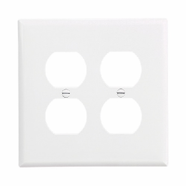 Picture of EATON PJ82V Outlet Wallplate, 6 in L, 5-1/4 in W, 2-Gang, Polycarbonate, Ivory, High-Gloss, Screw Mounting