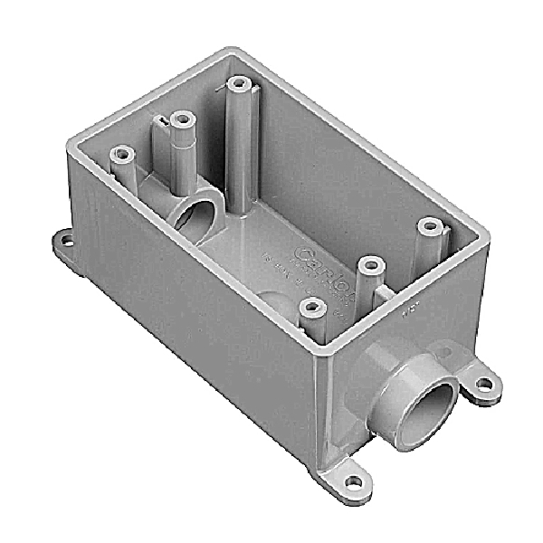 Picture of Carlon E981DFN Switch Box, 1-Gang, 2-Outlet, PVC, Gray, Vertical Mounting