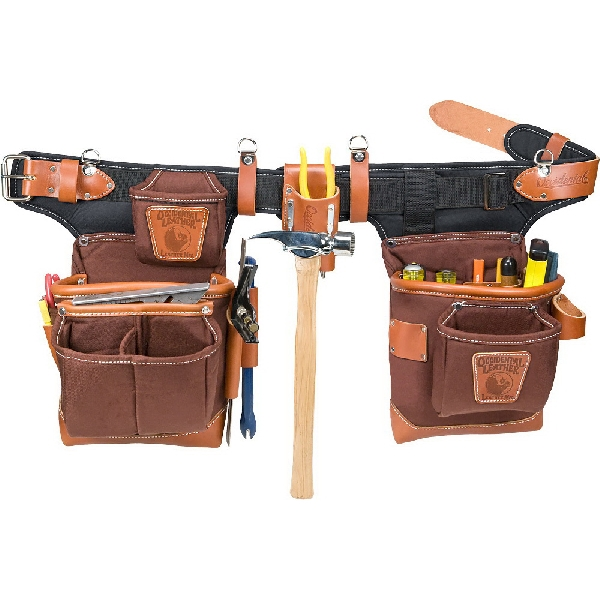 Picture of Occidental Leather 9855 Tool Bag Set, 10 in W, 10 in D, 24 -Pocket, Leather/Neoprene/Nylon, Cafe