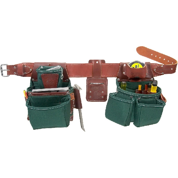 Picture of Occidental Leather 8080DB LG Framer Tool Belt, 36 to 39 in Waist, 48 in L, Leather/Nylon, Brown/Green, 21 -Pocket