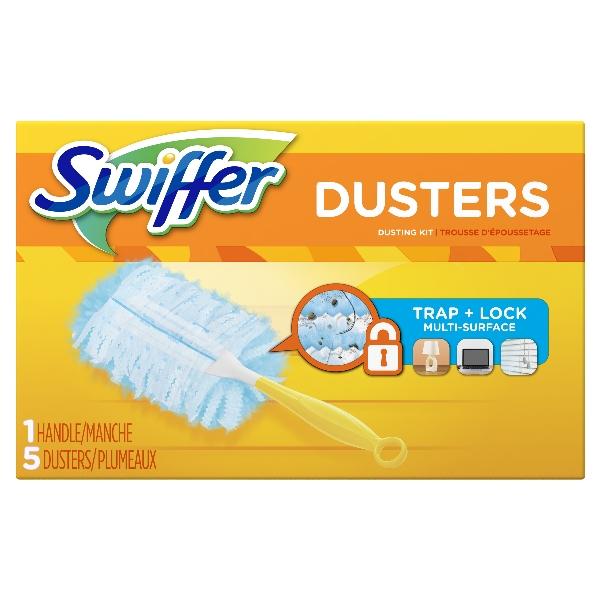 Picture of Swiffer Dusters 40509 Cleaner Starter Kit, Ergonomic Handle, Fiber Head, Plastic Handle