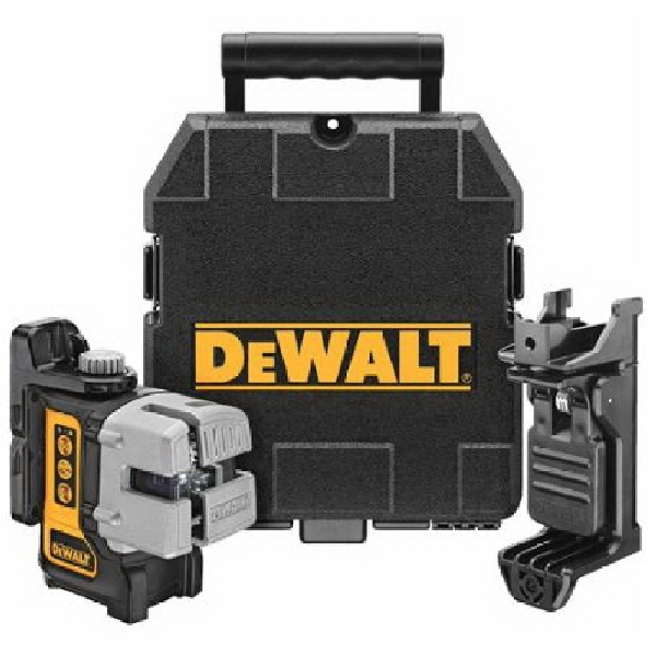 Picture of DeWALT DW089K Line Laser, 165 ft, 1/8 in Accuracy, 3 -Beam, Red Laser
