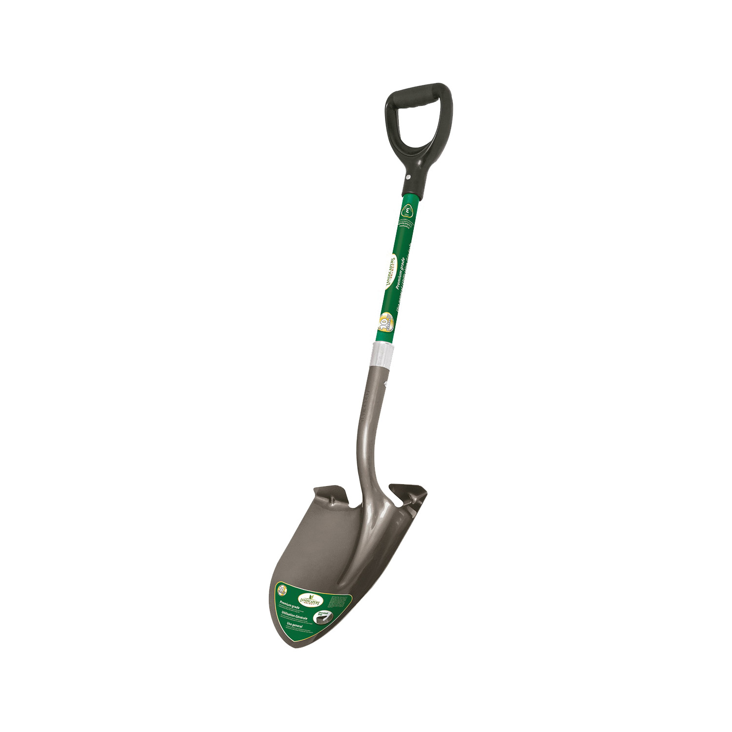 Picture of Landscapers Select 34599 Digging Shovel, Steel Blade, Fiberglass Handle, D-Shaped Handle, 30 in L Handle