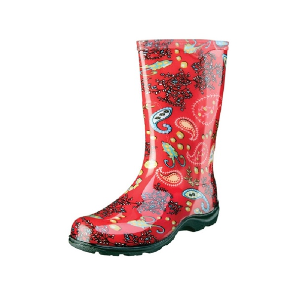 Picture of Sloggers 5004RD-06 Rain and Garden Boots, 6 in, Paisley, Red