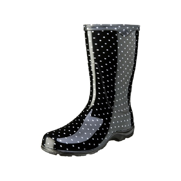 Picture of Sloggers 5013BP-06 Rain and Garden Boots, 6 in, Polka Dot, Black/White