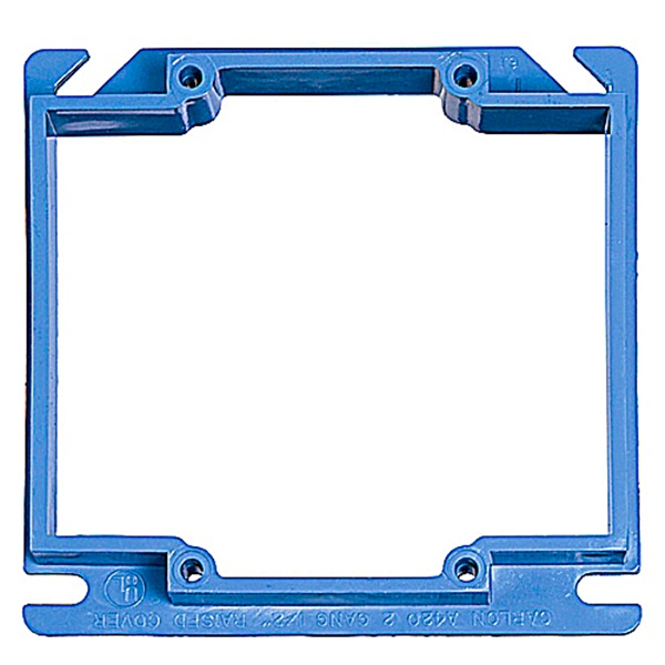 Picture of Carlon A420R-CAR Electrical Box Cover, 4 in L, 4 in W, Square, 2-Gang, PVC, Blue