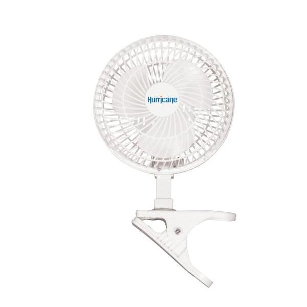 Picture of Hurricane HGC736520 Clip Fan, 120 V, 5.9 in Dia Blade, 3-Blade, 2-Speed, 306 cfm Air, White