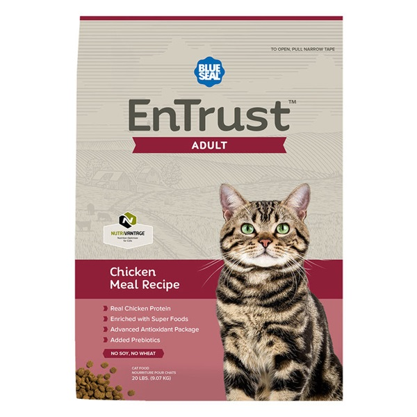 Picture of Blue Seal EnTrust 3953 Adult Cat Food, Dry, Chicken Meal Flavor, 20 lb Package, Bag