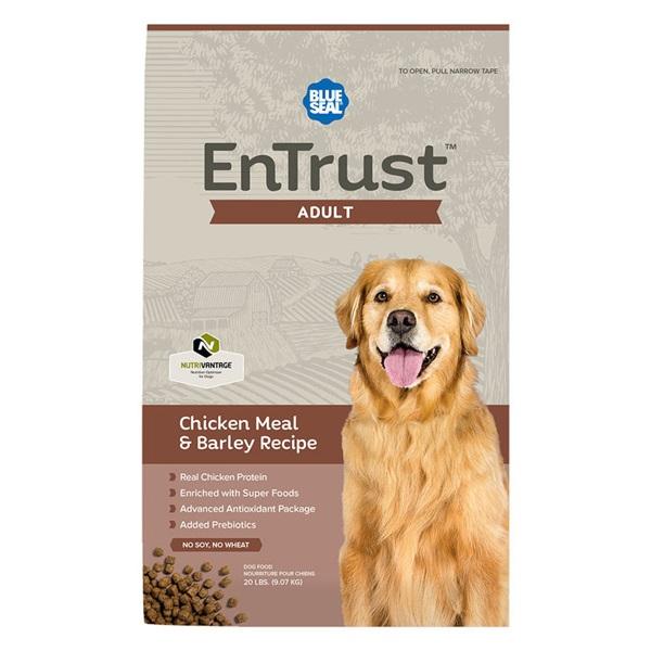 Picture of Blue Seal EnTrust 3968 Dog Food, Adult Breed, Dry, Barley, Chicken Meal Flavor, 20 lb Package, Bag