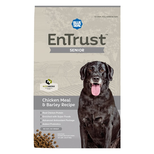 Picture of Blue Seal EnTrust 3987 Dog Food, Senior Breed, Dry, Barley, Chicken Meal Flavor, 6 lb Package, Bag