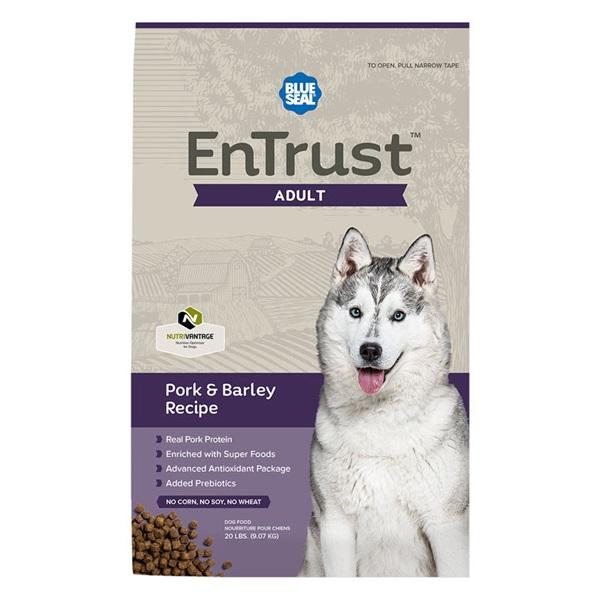 Picture of Blue Seal EnTrust 3984 Dog Food, Adult Breed, Dry, Barley, Pork Meal Flavor, 20 lb Package, Bag