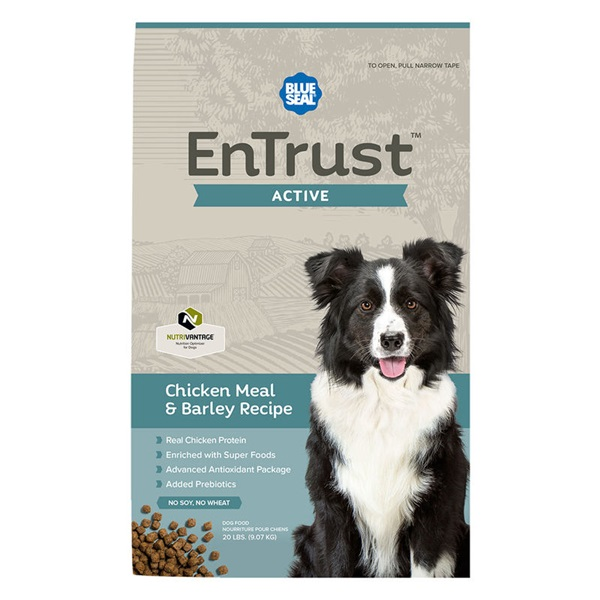 Picture of Blue Seal EnTrust 3964 Dog Food, Dry, Barley, Chicken Meal Flavor, 20 lb Package, Bag