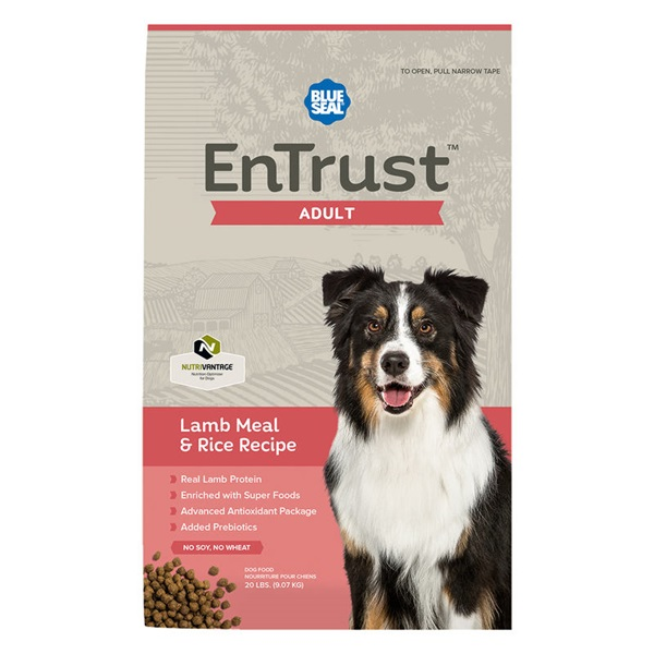 Picture of Blue Seal EnTrust 3971 Dog Food, Adult Breed, Dry, Lamb Meal, Rice Flavor, 20 lb Package, Bag