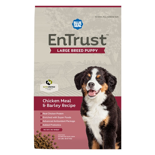 Picture of Blue Seal EnTrust 3961 Dog Food, Puppy Breed, Dry, Barley, Chicken Meal Flavor, 40 lb Package, Bag