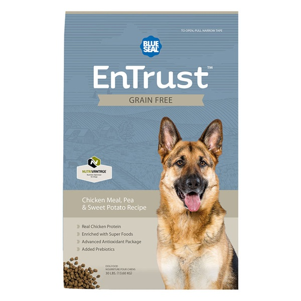 Picture of Blue Seal EnTrust 3992 Dog Food, Adult Breed, Dry, Chicken Meal, Pea, Sweet Potato Flavor, 30 lb Package, Bag