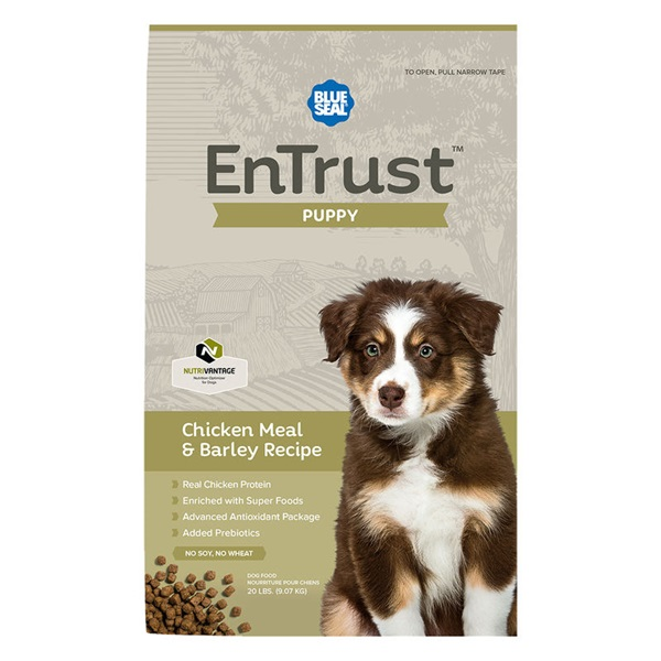 Picture of Blue Seal EnTrust 3955 Dog Food, Puppy Breed, Dry, Barley, Chicken Meal Flavor, 6 lb Package, Bag