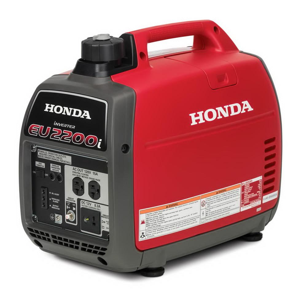 Picture of Honda EU2200i Inverter Generator, 120 V, 18.3 A Output, Gasoline, 0.95 gal Tank, 3.2 hr Run Time, Recoil Start