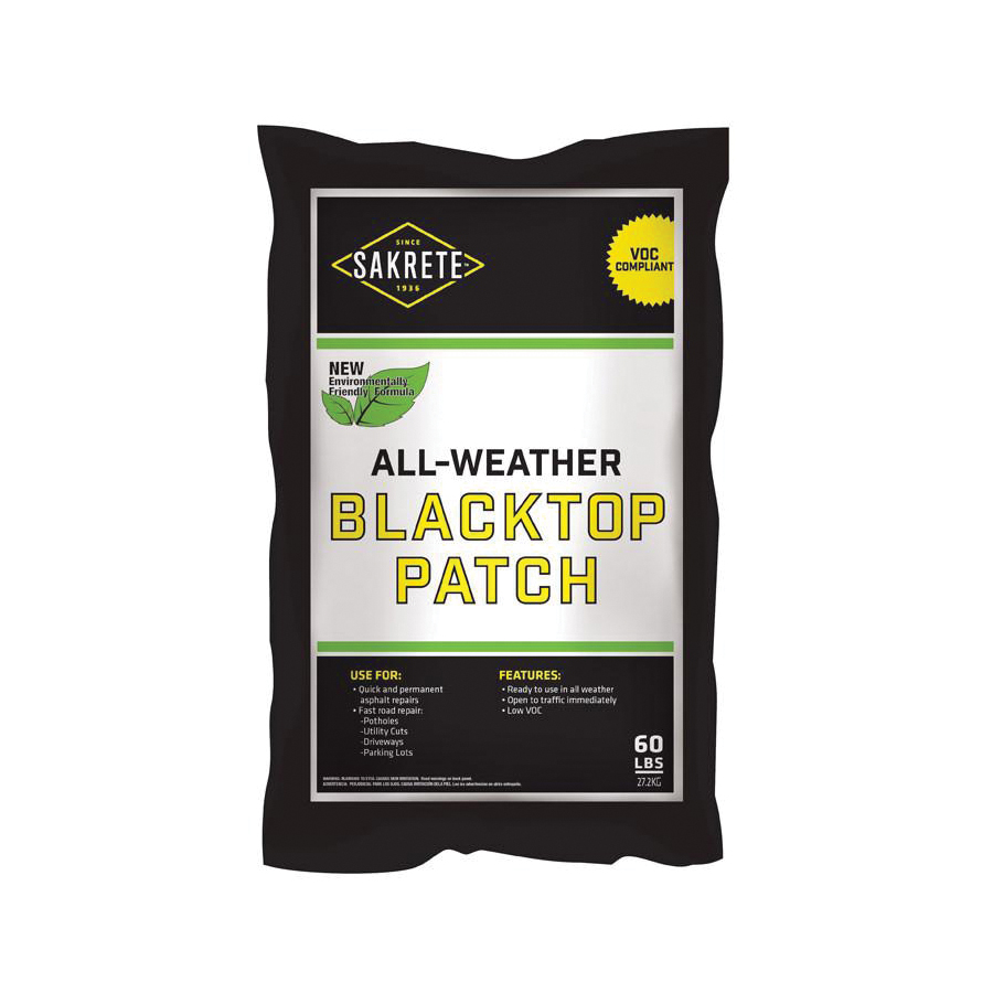 Picture of SAKRETE 60200240 All-Weather Blacktop Patch, Granular, Black, Petroleum, 60 lb Package, Bag