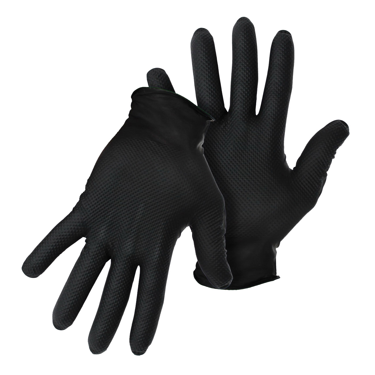 Picture of BOSS 1UH0088BL Disposable Gloves, L, Rolled Cuff, Latex Free: Yes, Nitrile, Black