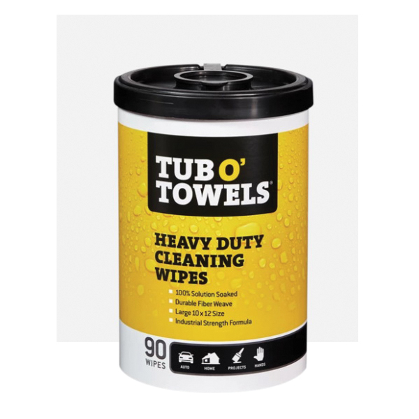 Picture of Tub O'Towels TW90 OG Heavy-Duty Cleaning Wipes, Polyfiber Blend, 90 Canister