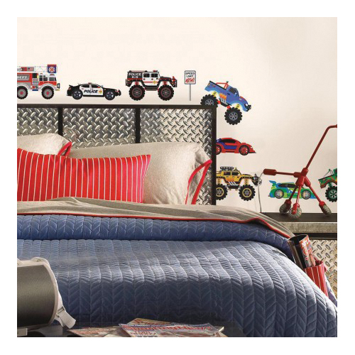 Picture of RoomMates SPD0004SCS Trucks and Transportation Wall Decal, 18 in L, 10 in W, Multi-Color