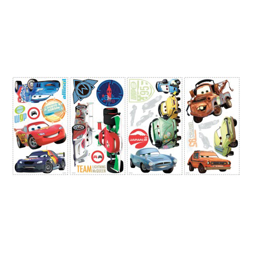 Picture of RoomMates RMK1583SCS Disney Cars Wall Decal, 18 in L, 10 in W, Multi-Color