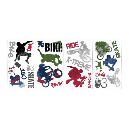 Picture of RoomMates RMK1690SCS Extreme Sports Wall Decal, 18 in L, 10 in W, Multi-Color