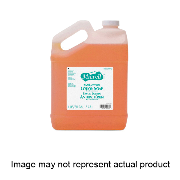 Picture of GOJO MICRELL GJ-9755-04 Antibacterial Lotion Soap, Liquid, Amber/Clear, Citrus, 1 gal Package, Bottle