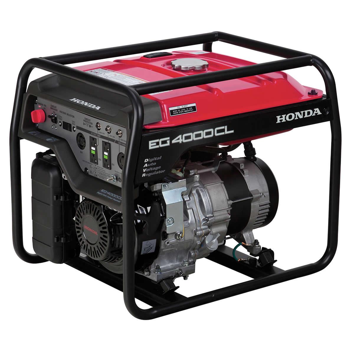 Picture of Honda EG Series EG4000CL1 Portable Generator, 29.2/14.6 A, 120/240 V, Gasoline, 6.3 gal Tank, 9.4 hr Run Time
