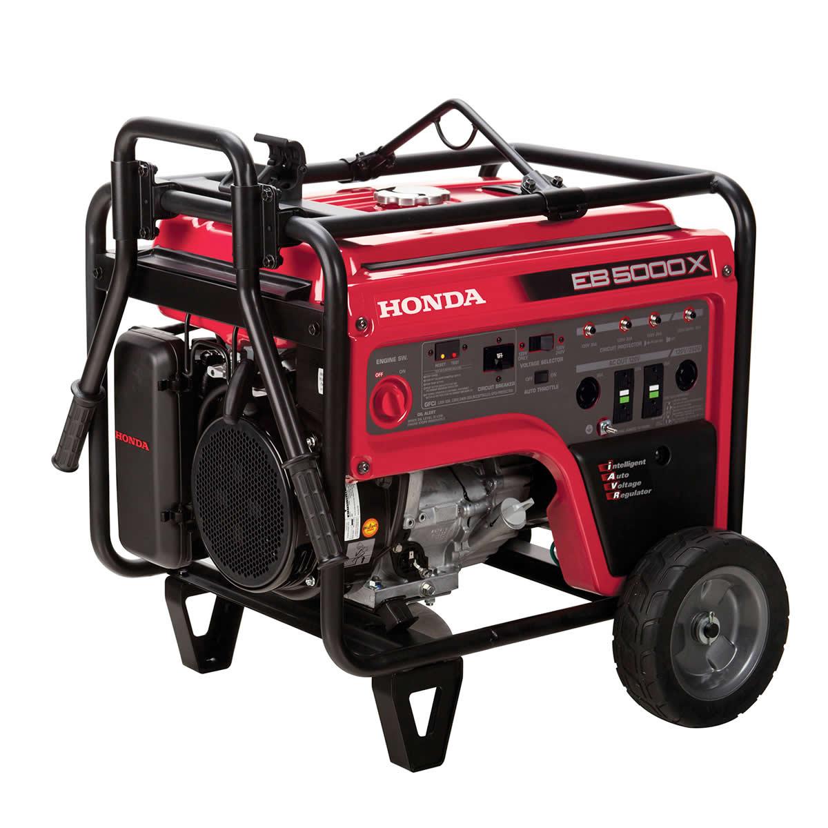 Picture of Honda EB Series EB5000XK3AT1 Portable Generator, 37.5/18.8 A, 120/240 V, Gasoline, 6.2 gal Tank, 8.1 hr Run Time