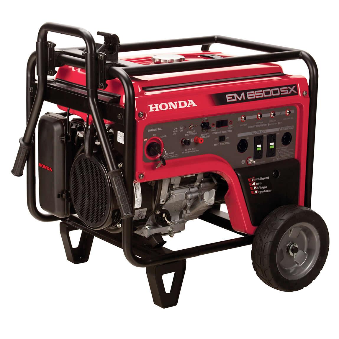 Picture of Honda EM Series EM6500SX21 Portable Generator, 45.8/22.9 A, 120/240 V, Gasoline, 6.2 gal Tank, 6.9 hr Run Time