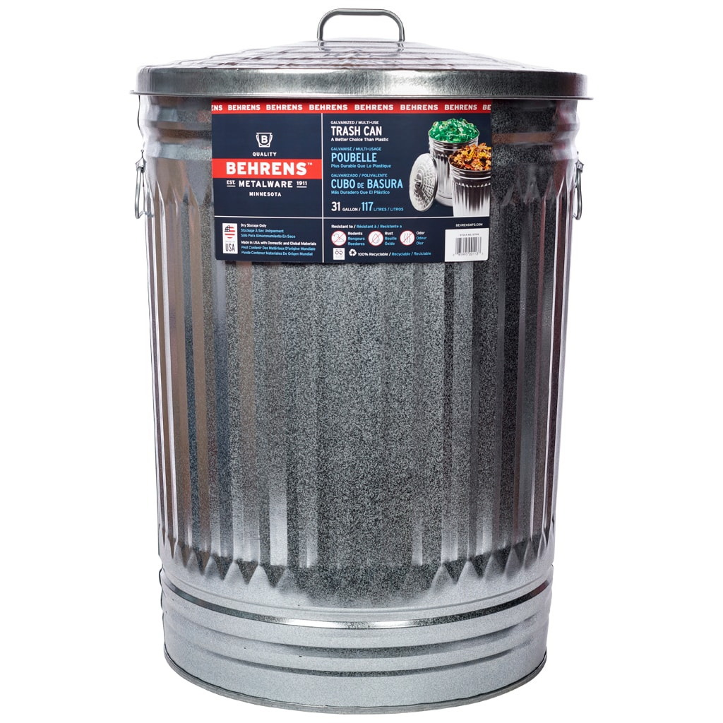 Picture of Behrens 1270 Trash Can, 31 gal Capacity, Steel, Silver