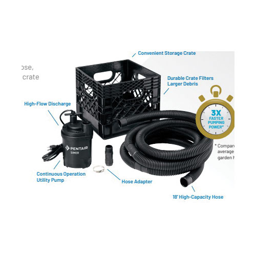Picture of Simer FLOW 'N STOW 2326RP Utility Pump Kit, 0.25 hp, 1 in Outlet, 1800 gph